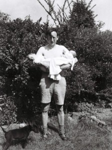 Leonard with his two babies 1946