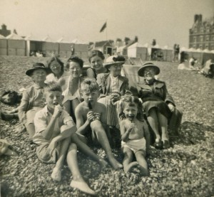 Joyce's family on the beach, Deal, 1950